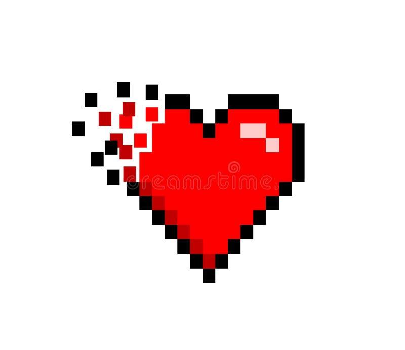 Gebroken Verbrijzelde Retro met 8 bits van het Hartpictogram royalty-vrije illustratie