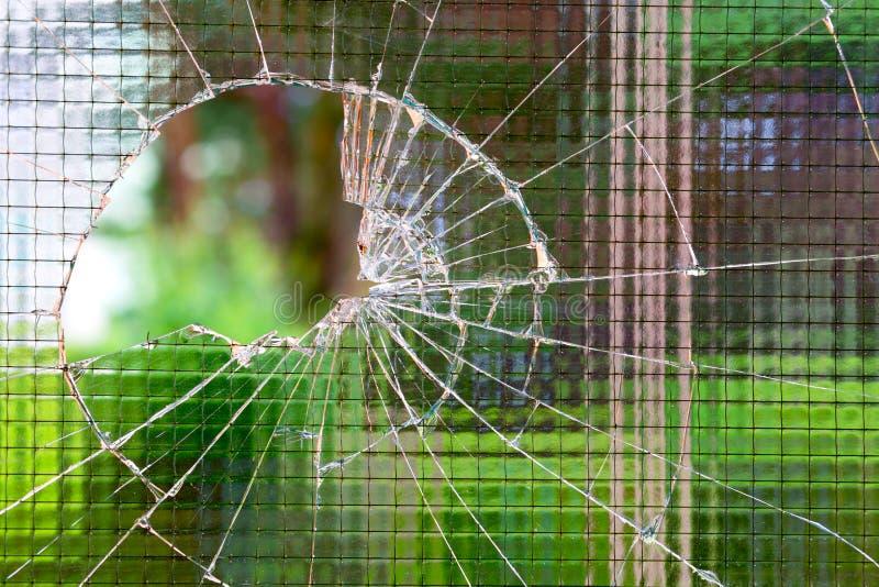 Gebroken versterkt glas stock afbeelding