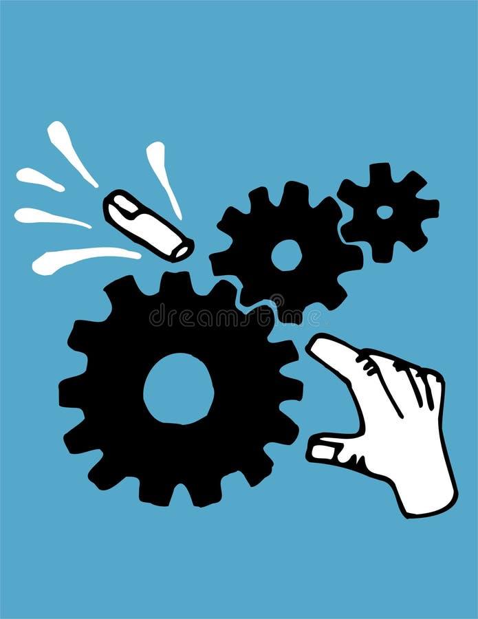 Gebroken vinger in toestellen vector illustratie