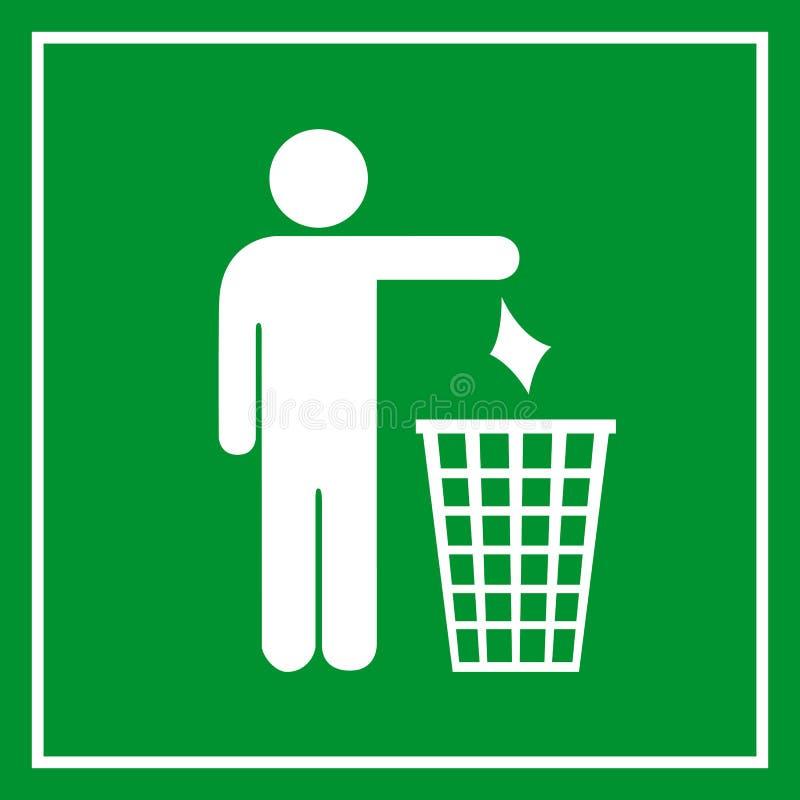 Gebruik een vuilnisbak, geen het een rommel maken van stock illustratie