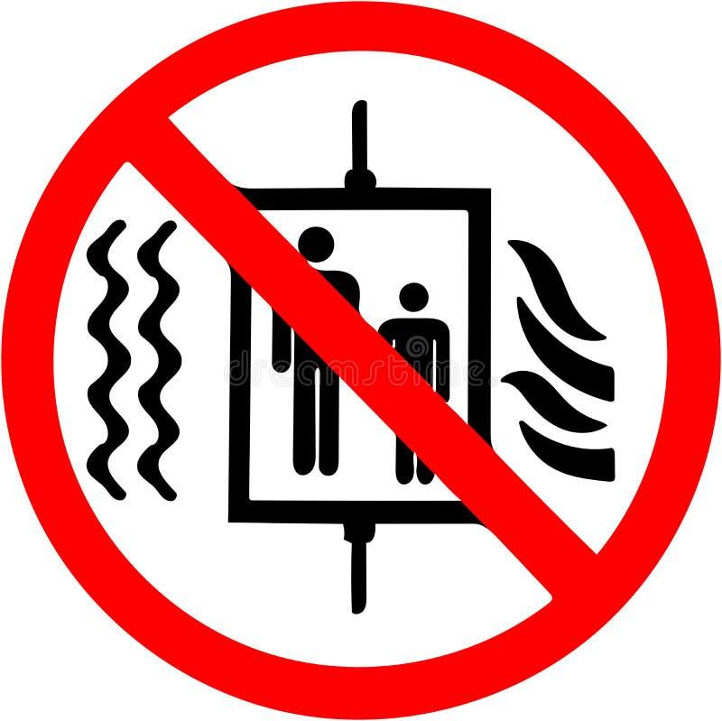Gebruik geen lift in het geval van brand, het teken van het aardbevingsverbod stock illustratie