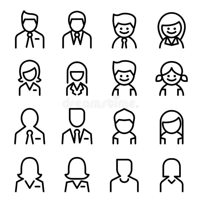 Gebruiker, Avatar, man, vrouwenpictogram in dunne lijnstijl die wordt geplaatst stock illustratie