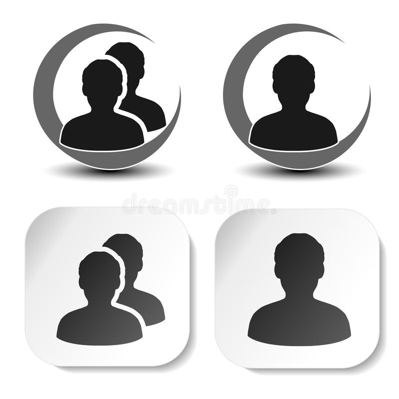 Gebruiker en communautaire zwarte symbolen Eenvoudig mensensilhouet Profieletiketten op witte vierkante sticker en rond symbool T stock illustratie