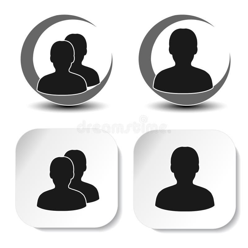 Gebruiker en communautaire zwarte symbolen Eenvoudig mensensilhouet Profieletiketten op witte vierkante sticker en rond symbool T vector illustratie