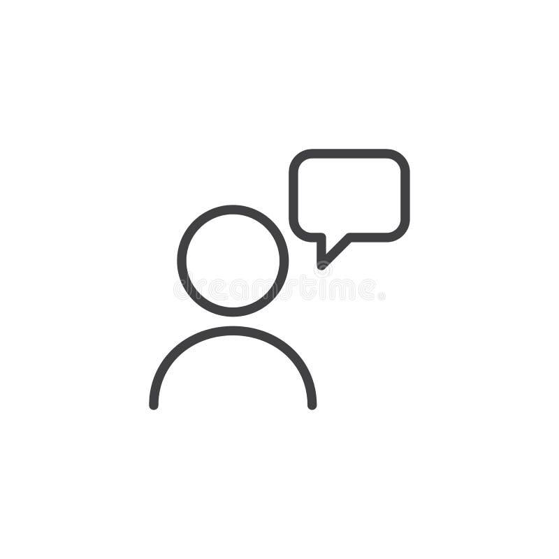 Gebruiker en het overzichtspictogram van de toespraakbel vector illustratie