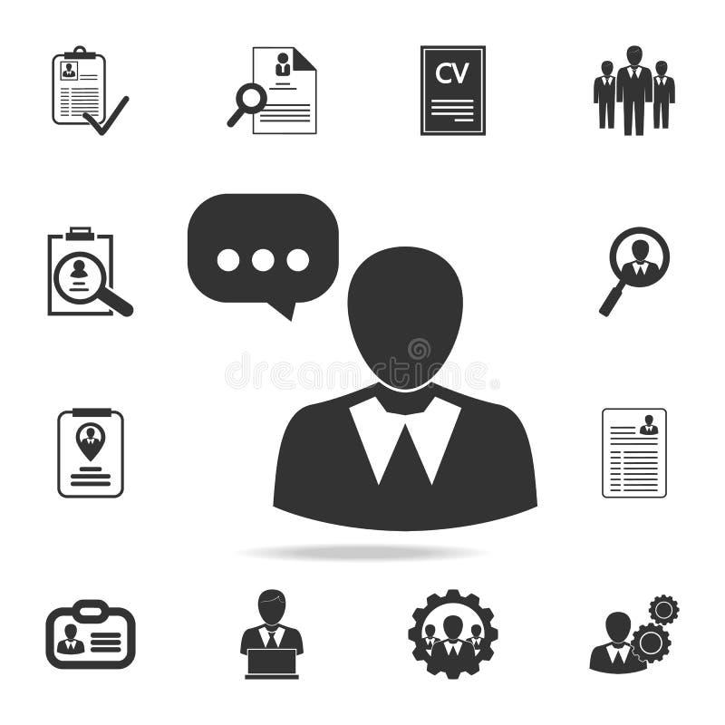 Gebruiker en toespraakbel, persoons sprekend pictogram Reeks Personeel, hoofd de jachtpictogrammen Het grafische ontwerp van de p royalty-vrije illustratie