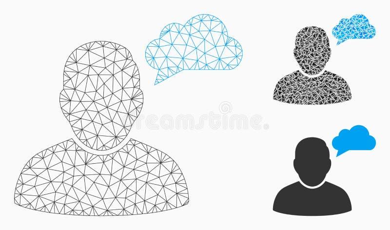 Gebruiker het Denken 2D Model van het Wolken het het Vectornetwerk en Pictogram van het Driehoeksmozaïek royalty-vrije illustratie