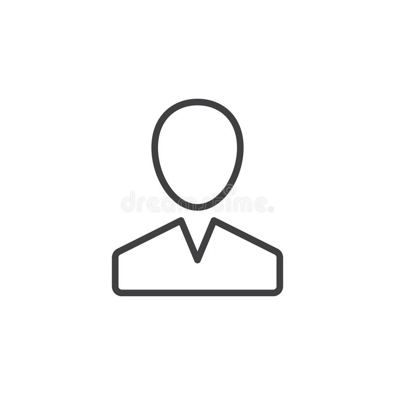 Gebruiker, het pictogram van de persoonslijn, overzichts vectorteken, lineair die stijlpictogram op wit wordt geïsoleerd royalty-vrije illustratie