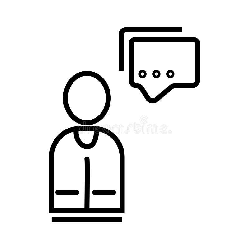 Gebruiker met het pictogram vectordieteken van de toespraakbel en symbool op witte achtergrond, Gebruiker met het embleemconcept  stock illustratie