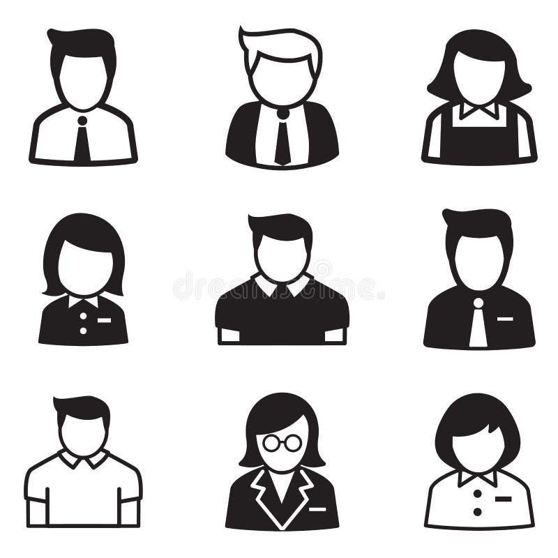 Gebruiker, rekening, personeel, de pictogrammen vectorillustratie Sym van het werknemersmeisje stock illustratie