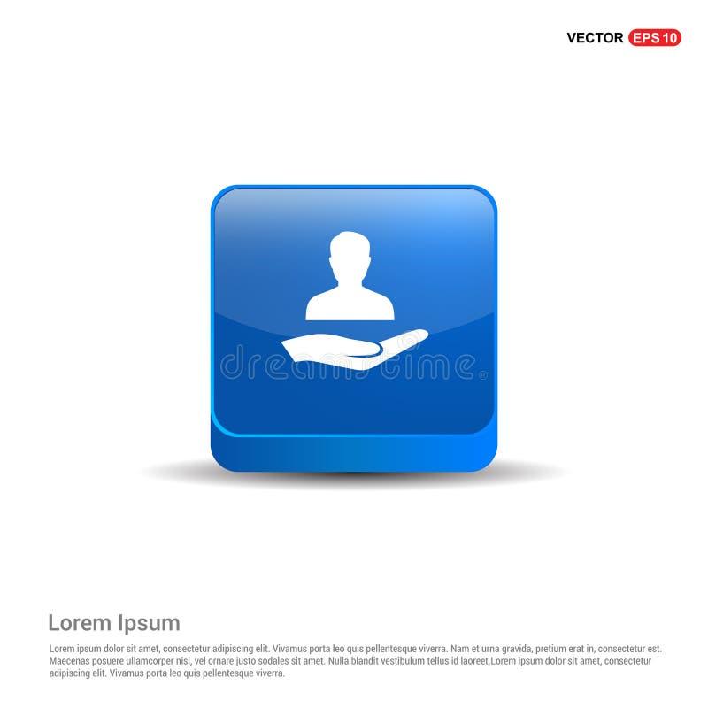Gebruikers in hand pictogram - 3d Blauwe Knoop stock illustratie