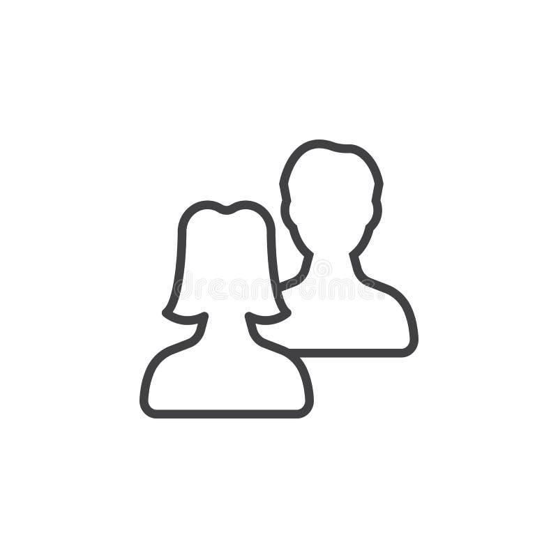 Gebruikers, het pictogram van de vriendenlijn, overzichts vectorteken stock illustratie