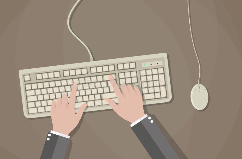 Gebruikershanden op toetsenbord en muis van computer vector illustratie