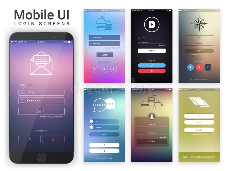Gebruikersinterface voor de Mobiele Login Schermen vector illustratie