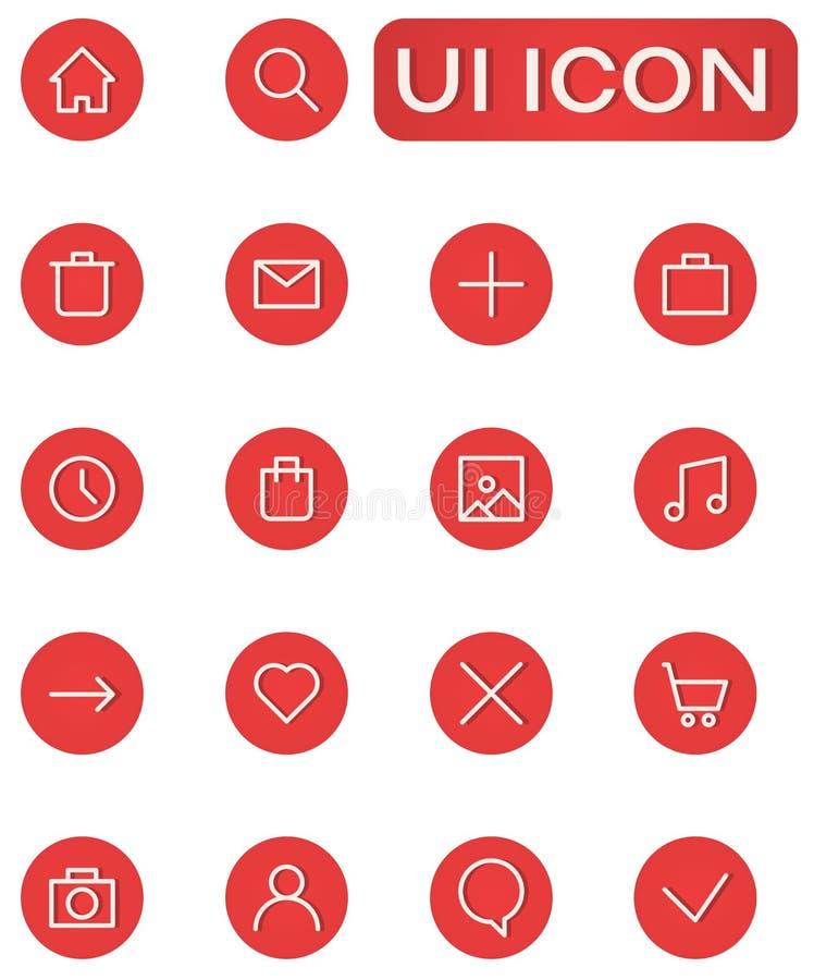 Gebruikersinterfacereeks ronde vlakke pictogrammen, symboolhuis, gebruiker royalty-vrije illustratie