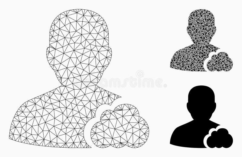Gebruikerswolk Vector het Mozaïekpictogram van Mesh Wire Frame Model en van de Driehoek stock illustratie