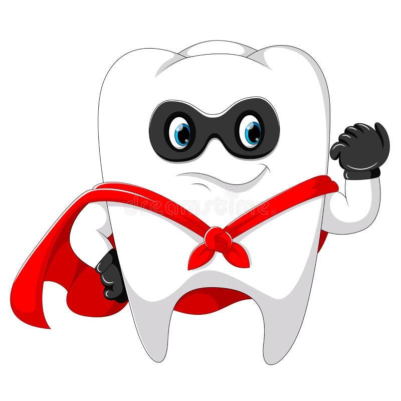 Gebruikt de Superhero gezonde sterke tand het masker vector illustratie