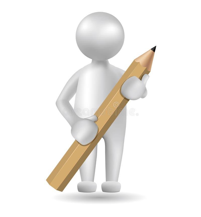 Gebruikt het vector getrokken mensensymbool, het potlood van de handgreep, beeld een netgradiënt vector illustratie
