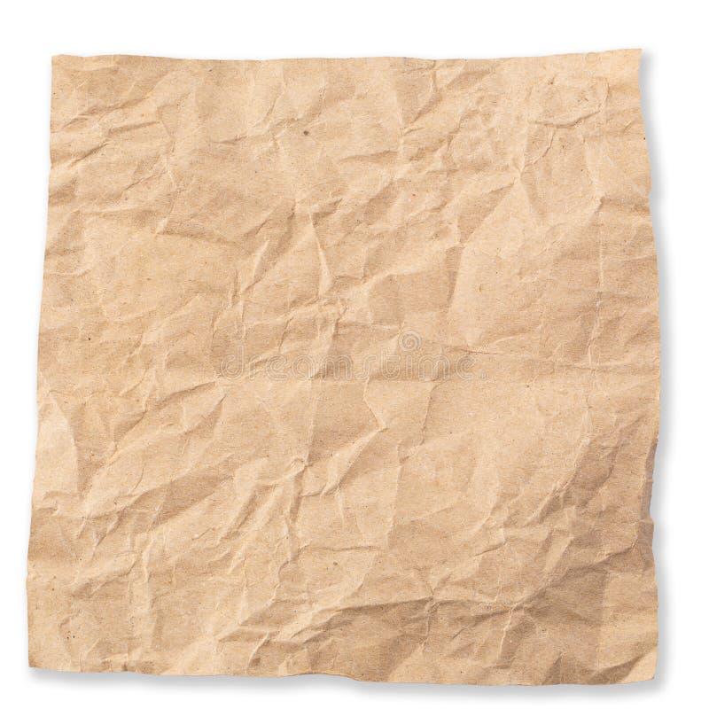 Gebruikt pakpapier geïsoleerd over witte achtergrond royalty-vrije stock afbeeldingen