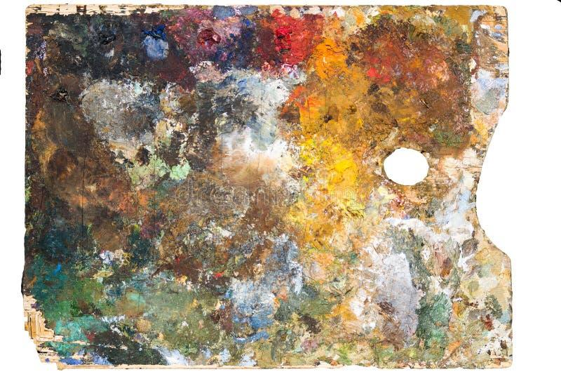 Gebruikte artist& x27; s het palet, close-up, isoleert stock fotografie