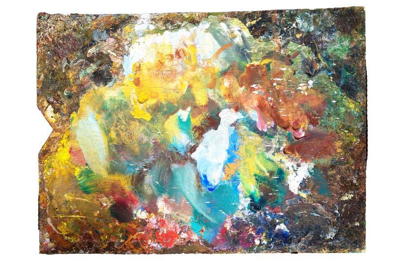Gebruikte artist& x27; s het palet, close-up, isoleert stock afbeeldingen