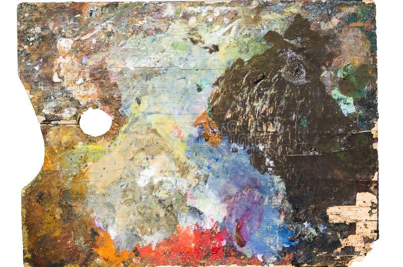 Gebruikte artist& x27; s het palet, close-up, isoleert stock afbeelding