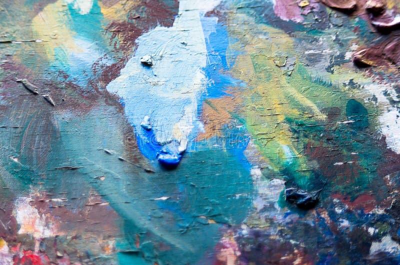 Gebruikte artist& x27; s palet, close-up royalty-vrije stock fotografie