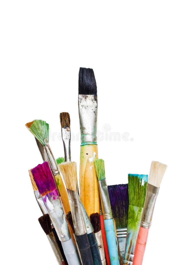 Gebruikte verfborstels stock fotografie