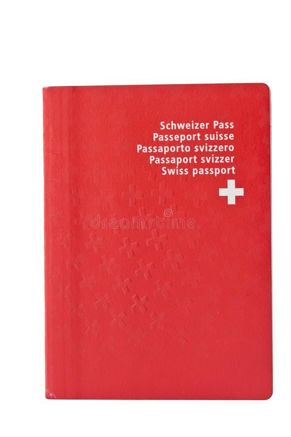 Gebruikte Zwitserse passort, die op wit wordt geïsoleerd stock foto