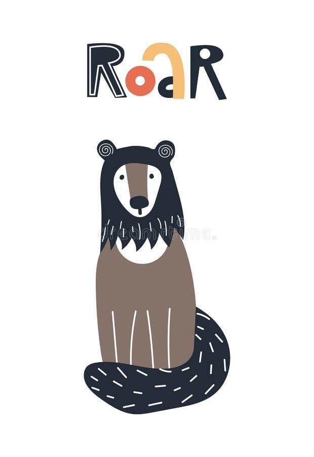 Gebrul - de Leuke affiche van het jonge geitjeshand getrokken kinderdagverblijf met wolverine dier en het van letters voorzien De stock illustratie