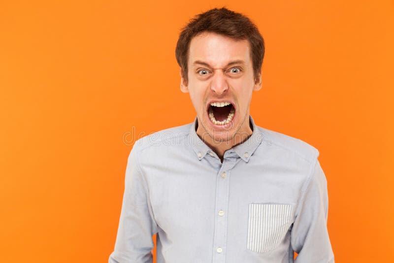 Gebrul! Jonge volwassen zakenmanschreeuw bij camera Woede en gekke conc stock fotografie