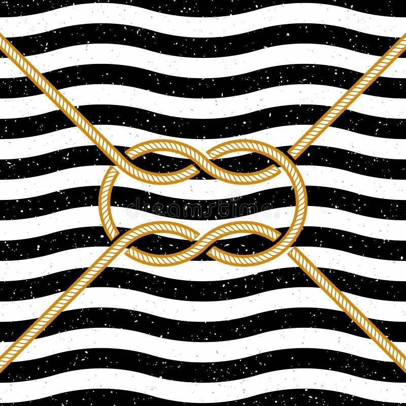 Gebundener quadratischer Knoten auf gestreiftem Hintergrund vektor abbildung