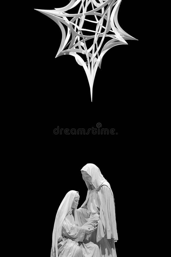 Geburt Christi Schwarzweiss stockfoto