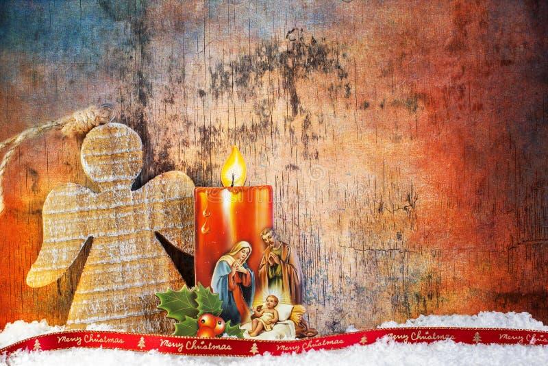Geburt Christi unter Schnee stockbilder