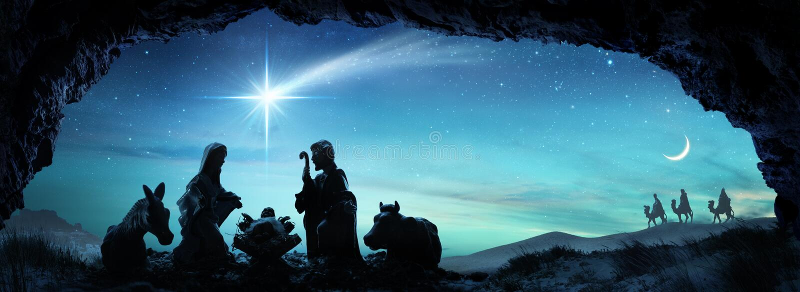 Geburt Christi von Jesus With The Holy Family-Szene lizenzfreie stockfotografie