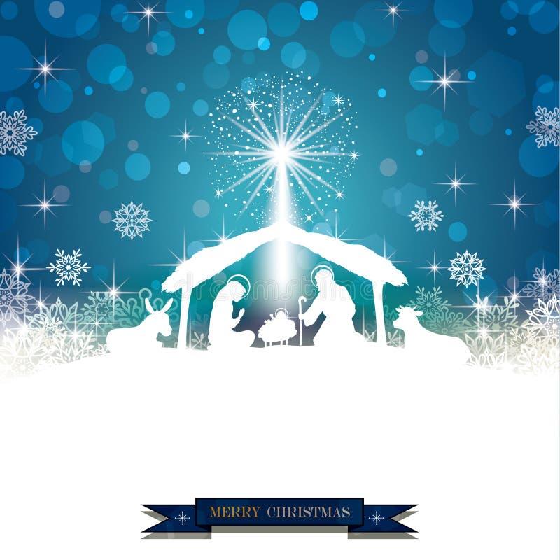 Geburt Christis-Schattenbild Weiß stockfoto
