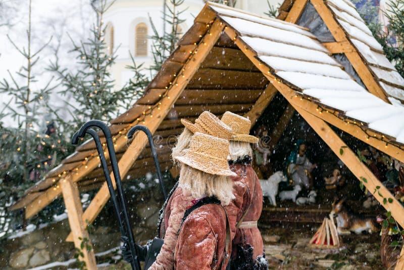 Geburt Christis-Spiel am Weihnachten stockfotografie