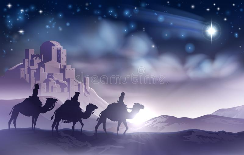 Geburt Christis-Weihnachtsillustration drei weiser Männer vektor abbildung
