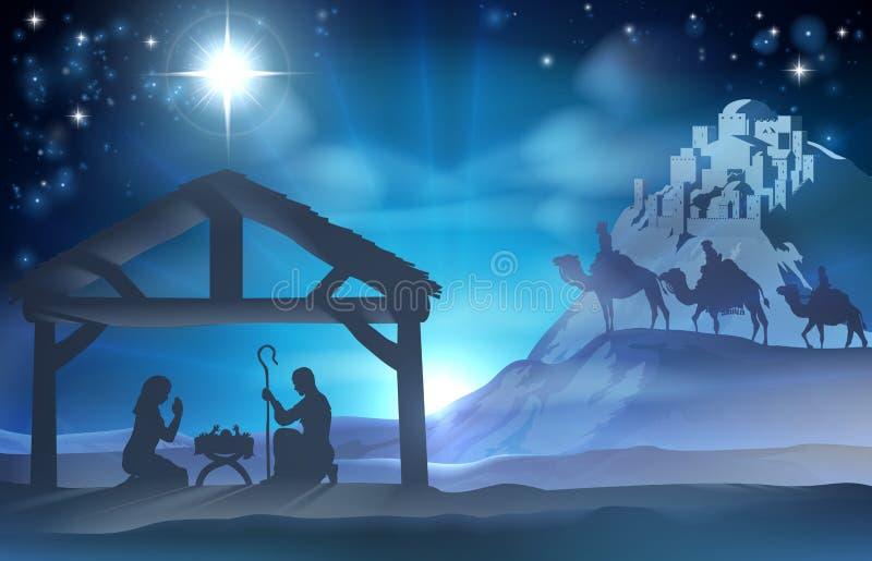 Geburt Christis-Weihnachtsszene lizenzfreie abbildung