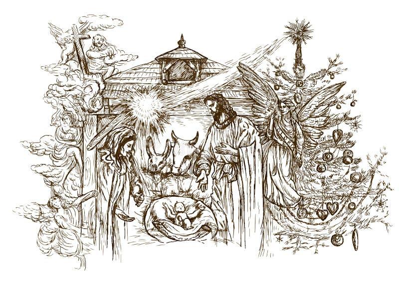 Geburt Christiszene vektor abbildung