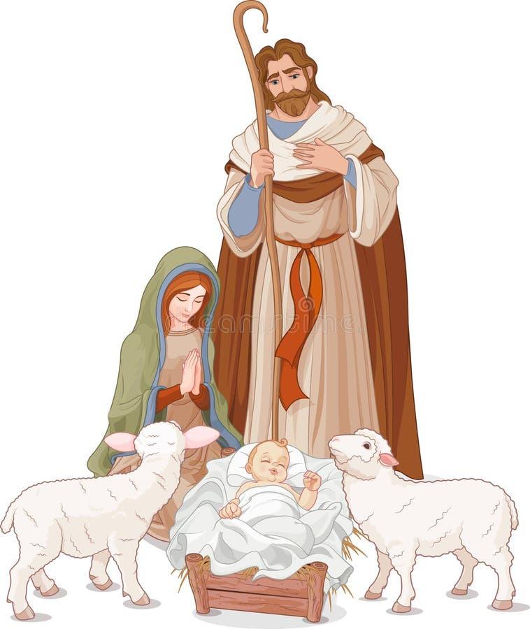 Geburt Christiszene lizenzfreie abbildung