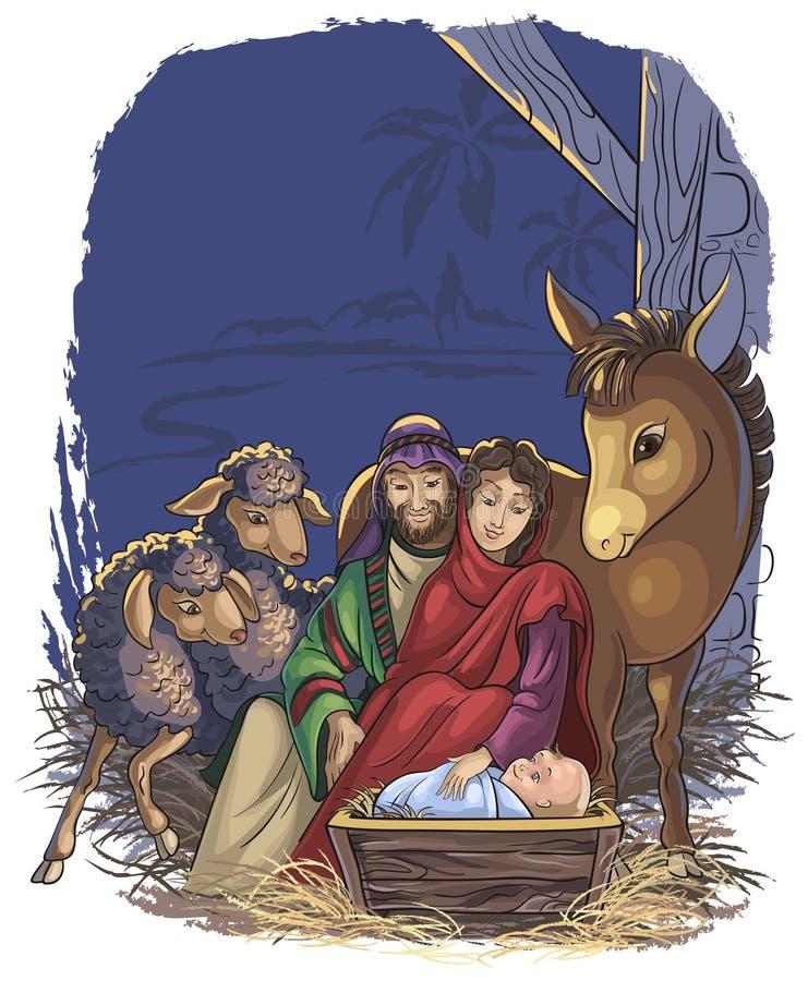 Geburt Christiszene mit heiliger Familie stock abbildung
