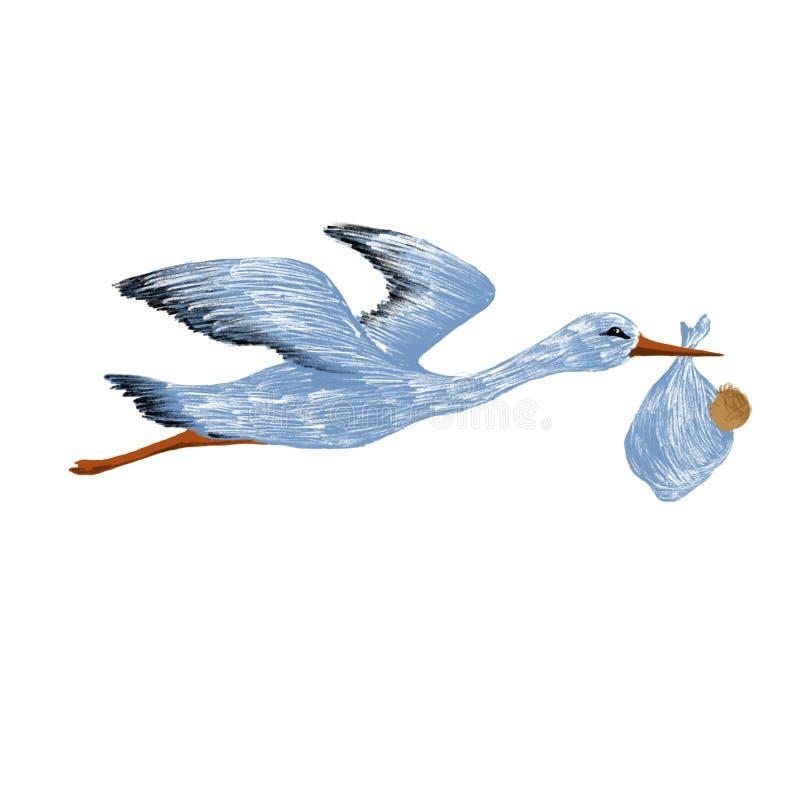 Geburt eines Kindes, der Storch trägt das Baby stock abbildung