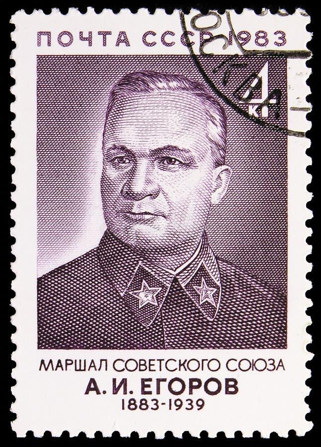 Geburts-Jahrhundert von A I Egorov, sowjetisches Militärkommandanten serie, circa 1983 lizenzfreie stockfotografie
