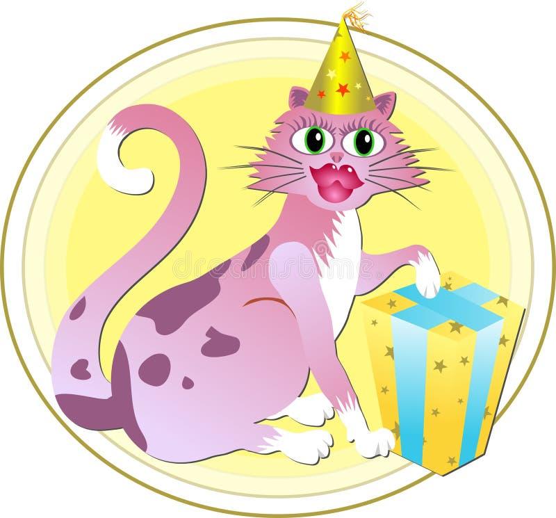 Geburtstag-Katze lizenzfreie abbildung