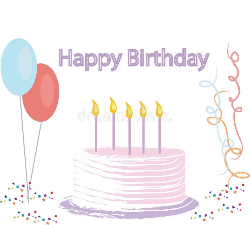 Geburtstag-Kuchen-Abbildung stock abbildung