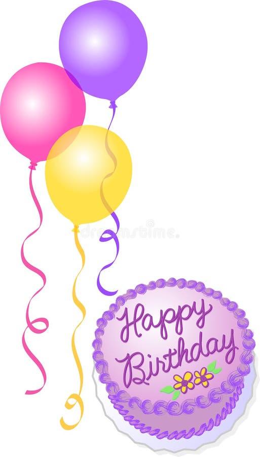 Geburtstag-Kuchen und Ballone stock abbildung