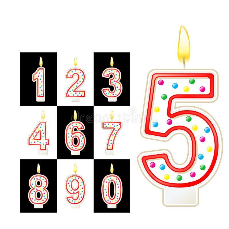 Geburtstag leuchtet Zahl durch Rot vektor abbildung