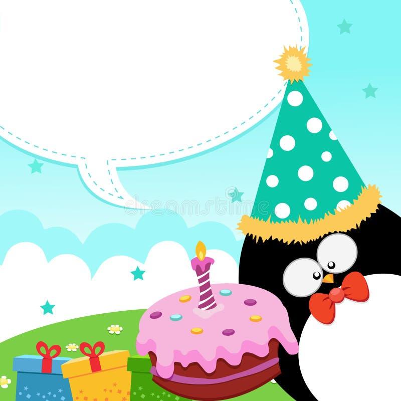 Geburtstag-Meldung des Pinguins vektor abbildung