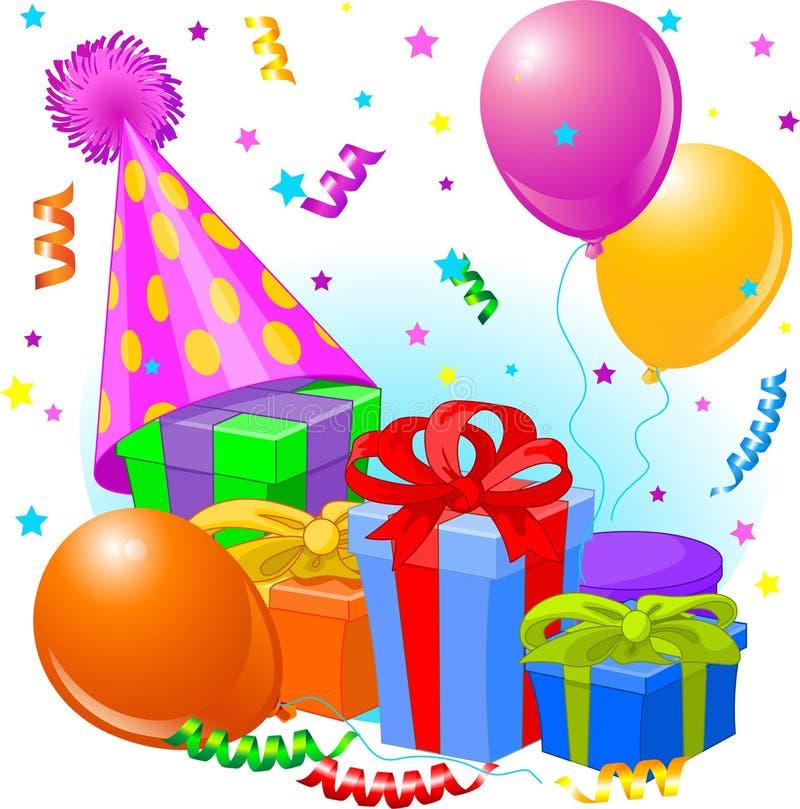 Geburtstaggeschenke und -dekoration lizenzfreie abbildung